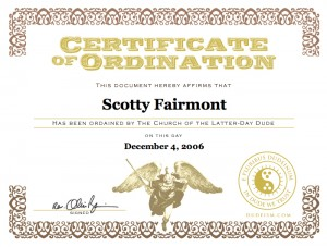 Dudeist Priest - Certificate of Ordination
